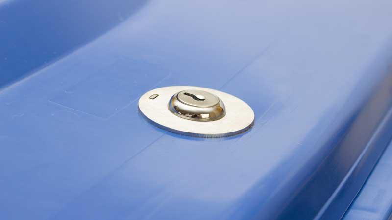 Locked shredding bin - close up of keyhole